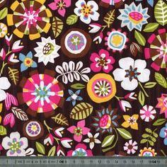 Coupon de tissu imperméabilisé, fleurs, noir et multicolore, 50cm x 70cm, t019-2
