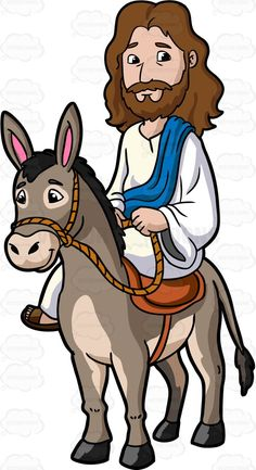 Jesus Riding A Donkey :  Cartoon image of Jesus Christ with long brown hair beard and mustache wearing a white robe and brown sandals as well as a blue sash looks nice and kinds sits on the orange saddle of a gray donkey with pink inner ear both hands holding a rope that is tied on the head of the donkey  The post Jesus Riding A Donkey appeared first on VectorToons.com.