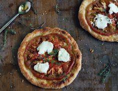 bird & cleaver: tomato tart + goat cheese + honey + thyme