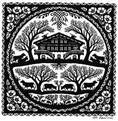 Eine Auswahl der Scherenschnitte von Ueli Hauswirth Scandinavian Folk Art, Kirigami, Graphic Design Inspiration, Line Drawing, Textile Art, Paper Cutting, Art Inspo, Line Art, Paper Art