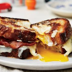 Egg-in-a-Hole Sandwich with Bacon and Cheddar recipe | Epicurious.com