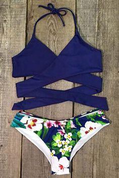 Cupshe Made the Cross Floral Bikini Set