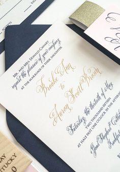 Navy, Blush & Gold Wedding Invitation