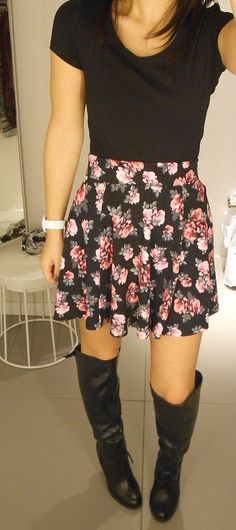 Floral Skater Skirt and basic black tee and knee-high boots. #charlotterusse by www.ruzinscloset.com