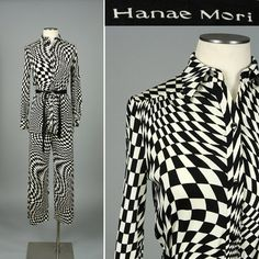 vintage HANAE MORI suit  psychedelic checkerboard • Black & White    by LivingThreadsVintage