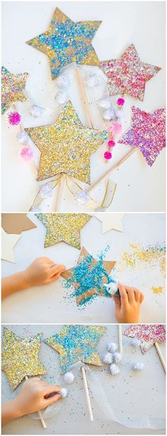 diy glitter star wands recycle cardboard to make these pretty sparkly wands with kids