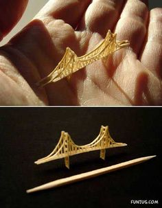 Tiny Pieces of Art! Golden Gate bridge sculpted from a single Toothpick & Glue!!