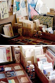 oh if only I could be so beautifully organized.oh if only I could be so beautifully organized. Craft Room Storage, Craft Rooms, Arts And Crafts, Paper Crafts, Studio Organization, Scrapbooking, Mail Art, Vintage Paper, Stationery