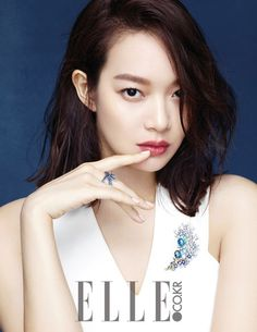 Elle Korea's October edition features the stars of My Love, My Bride—Shin Min Ah and Jo Jeong Suk. For her pictorial, Shin Min Ah injects a mature flair to classic children's fair… Korean Women, Korean Girl, Asian Girl, Korean Actresses, Korean Actors, Shi Min Ah, Korean Beauty, Asian Beauty, My Love My Bride