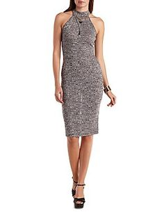 Marled Ribbed Bodycon Midi Dress: Charlotte Russe
