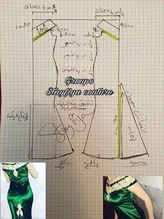 How to make off-shoulder bodice patterns Sewing Class, Sewing Basics, Sewing Hacks, Sewing Tutorials, Baby Dress Patterns, Easy Sewing Patterns, Clothing Patterns, Costura Fashion, Bodice Pattern