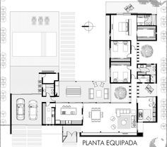 Roberto Benito, Gonzalo Viramonte · Horizontal House - House Plans, Home Plan Designs, Floor Plans and Blueprints Residential Building Design, Residential Architecture, Contemporary Architecture, Modern House Plans, Modern House Design, House Floor Plans, L Shaped House Plans, The Plan, How To Plan