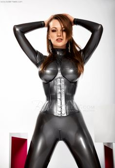 Latex catsuit big tits