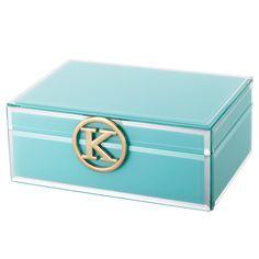 Light Blue Personalised Glass Jewellery Box Initial K.
