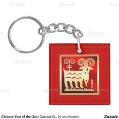 Chinese Year of the Goat Gift Keychains with personalized monogram. Matching cards, postage stamps, traditional red envelopes and other products available in the Chinese New Year / Year of the Goat / Ram Category of the artofmairin store at zazzle.com