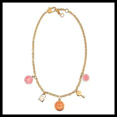 """NWT Marc Jacobs Happy House Charm Necklace   Authentic NWT Marc by Marc Jacobs Bright Rose Happy House Charm Chain Necklace  Marc by Marc Jacobs Style #M0005916 -- Color: 652 Bright Rose Multi (Pink, Orange, Gold, Silver)  Chain Length: 18"""" with a 2"""" Adjuster -- Lobster Claw Closure  Pendant Sizes ~.75"""" Each (5 Charms Total)  Gold-Plated Brass with Colorful Enamel and Glass Stone Accents  Perfect new condition with tags -- never worn!  Will include a (non-MJ) gift box and dust bag!    No…"""