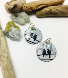 A personal favorite from my Etsy shop https://www.etsy.com/listing/475706082/crows-on-wire-earrings-bird-earrings