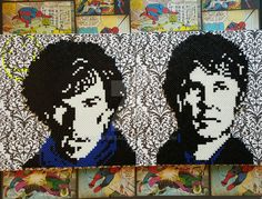 BBC Sherlock & Watson perler beads by sanzosgal - My sister and I finished these some time ago, but we finally mounted them on a canvas today.