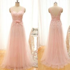New Arrival Sexy Pink Prom Dress, Tulle Prom Dress , Open Back Lace Evening Dresses With Belt