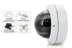 1MP 1/3 Inch CMOS IP Dome Camera - 1280x720 Resolution, IR-Cut, Motion Detection