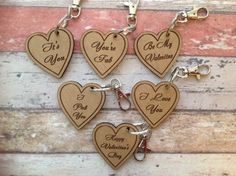 Valentines laser cut and engraved key ring by FredAndBo on Etsy