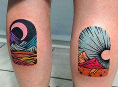 Night and day window tattoos by Dusty Past