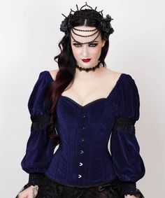 Aglaia Gothic Overbust Blue Corset with Attached Sleeve