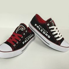 Atlanta Falcons Converse Style Sneakers I bought these shoes when nobody else knew about them, lol. Mine have red and black laces though. Falcons Game, Falcons Football, Converse Style, Converse Sneakers, Atlanta Falcons Rise Up, Georgia Bulldogs, Carolina Panthers, Custom Shoes, Chuck Taylor Sneakers
