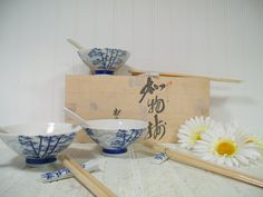 Vintage Japanese Ceramic Soup Set for 4 in Wood Box  Asian