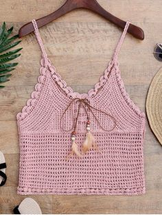 Crochet Cami Cover Up with Feather - PINK ONE SIZE