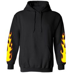 3ff0f3b0 Flame Sleeves Hoodie Black Hoodie, Fleece Fabric, Rib Knit, Birthday  Wishlist, Baby
