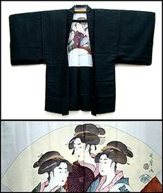 Men's silk, Japanese haori kimono jacket, with fantastic geisha on the lining. See more on the blog at wafuku.wordpress.com