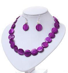 Fashion White Freshwater Pearl And Purple Round Disc Painted Shell Sets