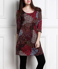 This Burgundy Peacock Empire-Waist Tunic Dress - Plus Too by RB is perfect! #zulilyfinds