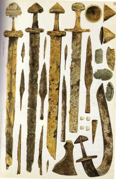 Viking artifacts from Dublin area. Swords, spearheads, shield bosses, brooches…