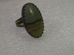 Vintage Ring, Sterling Silver Mossy Agate Southwestern Ring, size 9.25