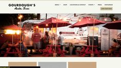 "Gordoughs Austin- Good Small Business -Promotion and info about local food truck -sans serin fonts except hand written style for ""Austin, Texas"" -Columnar layout -good info hierarchy easily accessible - neutral color palette that corresponds w the product - good balance of pos/neg space - shows menu, press, photos, location (great for trucks!) and applications - navigation is simple scrolling and smooth - UE is inviting and appealing making you want to look at more"