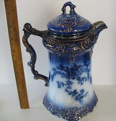 Beautiful Flow Blue Chocolate/Coffee Pot with lavish gilding by Wheeling Pottery in the LaBelle pattern, c.1893-1910