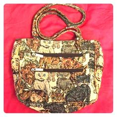 CAT PURSE! Vintage. So very awesome cat purse. Used but in good condition. There are three compartments inside and zipper pockets all over. Solid well made construction.  Bags
