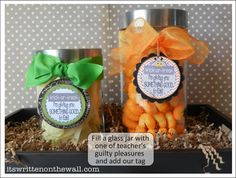 (Freebie) Halloween themed Teacher Appreciation tags and ideas for gift wrapping.  It's Written on the Wall: