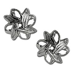 "Amazon.com: Luxury & Custom {10mm} of Approx 100 Individual Loose Medium Size Scallop ""Filigree"" Beads Made of Genuine Plated Brass w/ Dark Gunmetal Silver Metallic Chrome Cup Flower Leaf Cap Design {Gray}: mySimple Products: Arts, Crafts & Sewing"