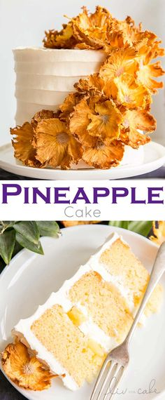 Pineapple Cake (with dried Pineapple flowers) - This Pineapple Cake is the perfect tropical dessert for summer! Dried pineapple flowers adorn this pineapple infused cake with fresh pineapple and pineapple buttercream. Tropical Desserts, Köstliche Desserts, Summer Desserts, Delicious Desserts, Summer Cakes, Pineapple Flowers, Dried Pineapple, Cake With Pineapple, Pineapple Layer Cake Recipe