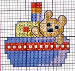 orsetto in barca - punto croce - cross Stitch - Kreuzstich - Punto de Cruz