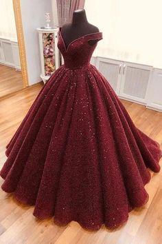 Dress sparkle Sparkle Ball Gown V Neck Burgundy Off the Shoulder Prom Dress, Quinceanera Dresses Sparkle Ballkleid mit V-Ausschnitt Burgund Schulterfrei, Quinceanera Kleider im Angebot - PromDress.