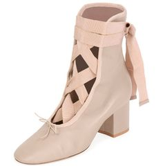 "Ballet Napa Leather Lace-Up Bootie by Valentino. Valentino Garavani napa leather bootie with grosgrain trim. 2.4"" covered block heel. Round toe with balletic bow detail. Lace-up front; wraps around ankle. Smooth outsole. ""Ballet"" is made in Italy. #valentino #shoes #boots"