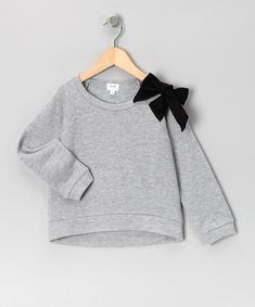 Take a look at this Aioty Gray Bow Sweatshirt - Toddler & Girls on zulily today!