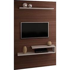 Painel para TV até 55 3056 2 Prateleiras Capuccino/Montego Blanc - Quiditá Móveis Tv Cabinet Design, Tv Unit Design, Tv Wall Design, Tv Unit Decor, Tv Wall Decor, Tv Unit Furniture, Furniture Design, Deco Tv, Lcd Panel Design