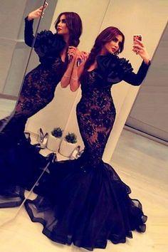Mermaid Scoop Long Sleeves Sweep Train Black Prom Dress with Flower Beading  Mermaid Evening Dresses 58a7f2621