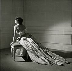 "Maxime De La Falaise in Christian Dior's ball gown named ""Henri Sauguet"" after composer and personal friend of Dior, photo by Willy Maywald, 1950"