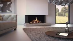 The ultimate panoramic fireMaestro Eco Wave is a panoramic gas fire with a spectacular log fire display featuring high, dense flames. There is a choice of stunning interior finishes and the option of Contemporary Fireplace Designs, Modern Contemporary Living Room, Modern Room, Modern Living Room Designs, Modern Lounge, Home Fireplace, Living Room With Fireplace, Fireplace Surrounds, Fireplace Ideas